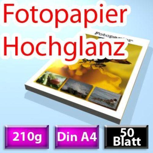 210g High-Glossy Foto-Papier Din A4, 50 Blatt