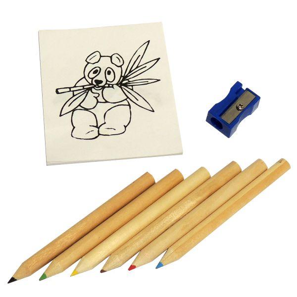 Buntstifteset: Malbuch, 6 Buntstifte und Anspitzer
