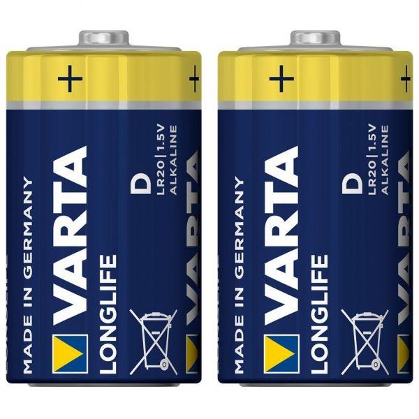 2 Stück Varta Longlife Mono (D)-Alkali-Mangan Batterien