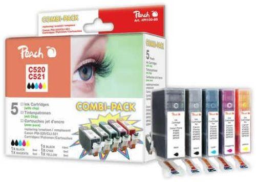 Peach Combi Pack mit Chip, kompatibel zu CLI-521, PGI-520