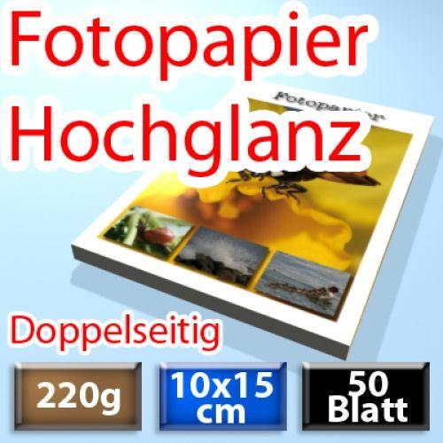 220g Foto-Karten 10*15cm, Glossy, doppelseitig 50 Blatt